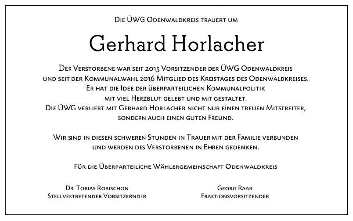 Traueranzeige Gerhard Horlacher